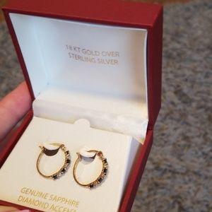 NWT 18kt/Sterling Silver Sapphire Earrings